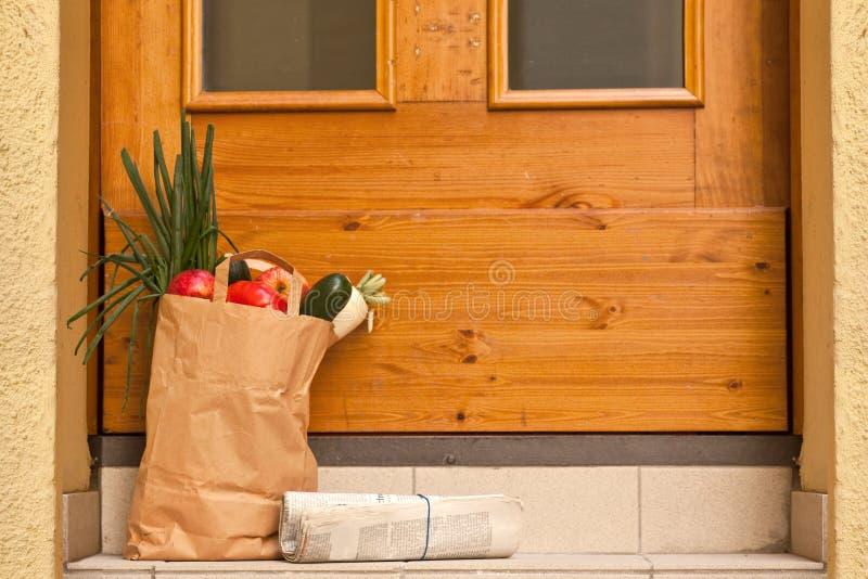 Download Grocery bag stock image. Image of paper, door, grocery - 9361461
