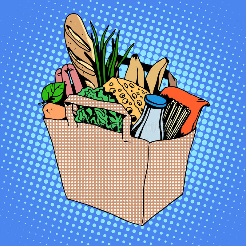 Grocery bag full of food cheese milk bread fruit royalty free illustration