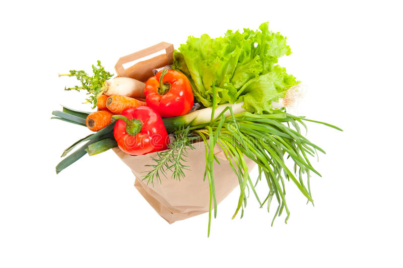 Grocery bag full of fresh vegetables stock photography