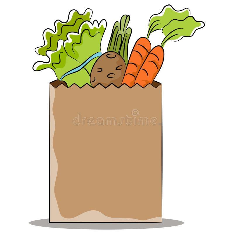 grocery bag with healthy vegetables stock vector illustration of rh dreamstime com