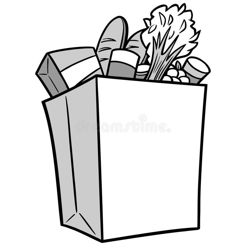 Black And White Grocery Bag Clip Art Grocery Bag Illustrati...