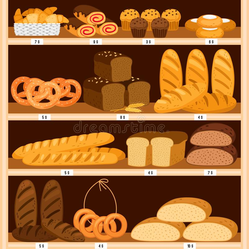 Grocery breads shelves. Bread and fresh pastries wood showcase, bakery products in wooden interior. Bagel and brown vector illustration