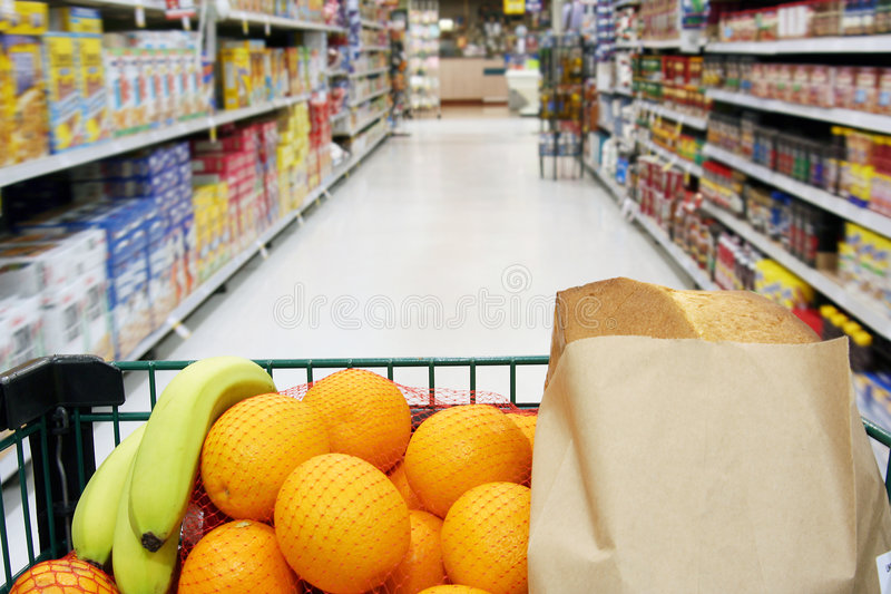 Grocery cart royalty free stock images