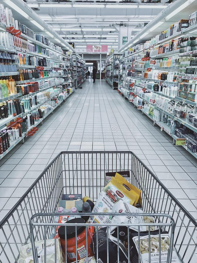 Grocery Cart With Item royalty free stock photos