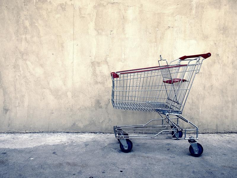 Grocery cart at a parking lot royalty free stock images
