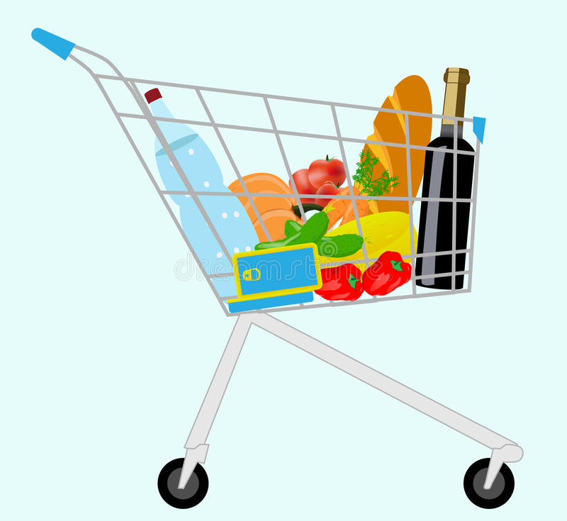 Grocery cart. Vector cart with a set of products royalty free illustration