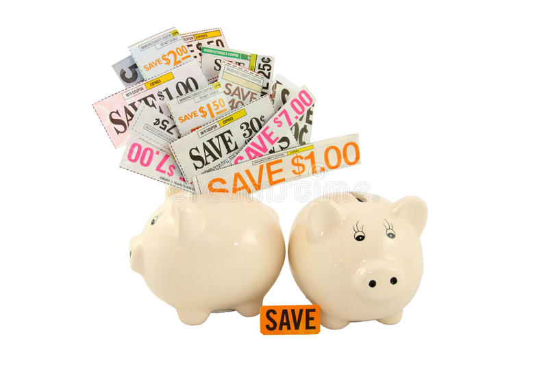 Download Grocery Coupons In A Piggy Bank Stock Photo - Image: 22869582