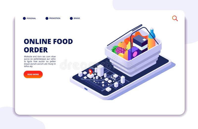Grocery food delivery isometric concept. Online order with mobile phone app. Internet food restaurant vector banner or. Landing page. Illustration of delivery stock illustration