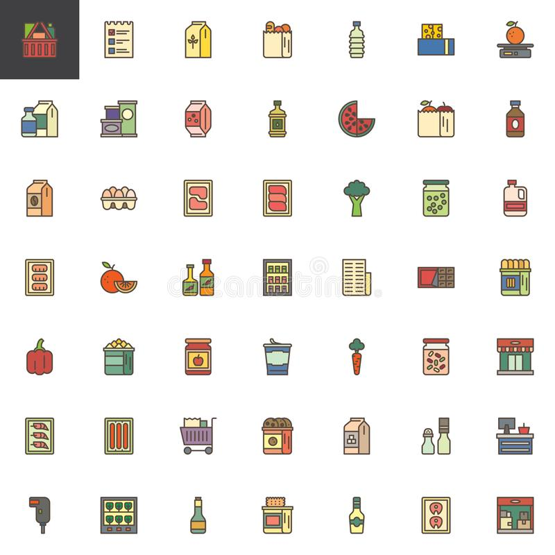 Grocery goods filled outline icons set. Line vector symbol collection, linear colorful pictogram pack. Signs, logo illustration, Set includes icons as Shopping stock illustration