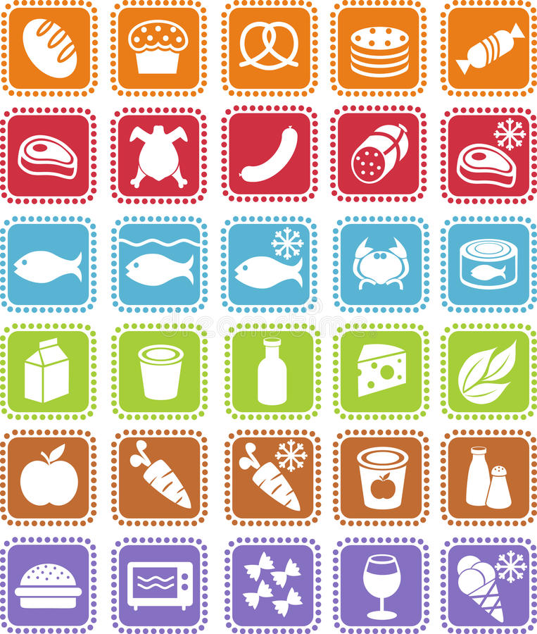 Free Grocery Icons Stock Images - 20190654