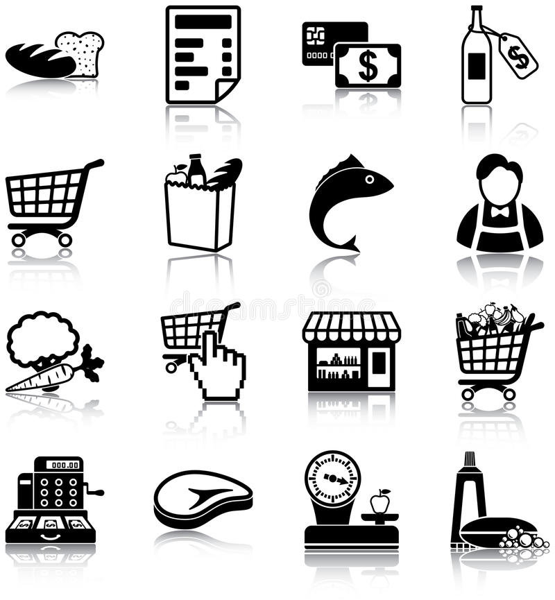 Download Grocery icons stock vector. Image of payment, money, grocery - 33530892