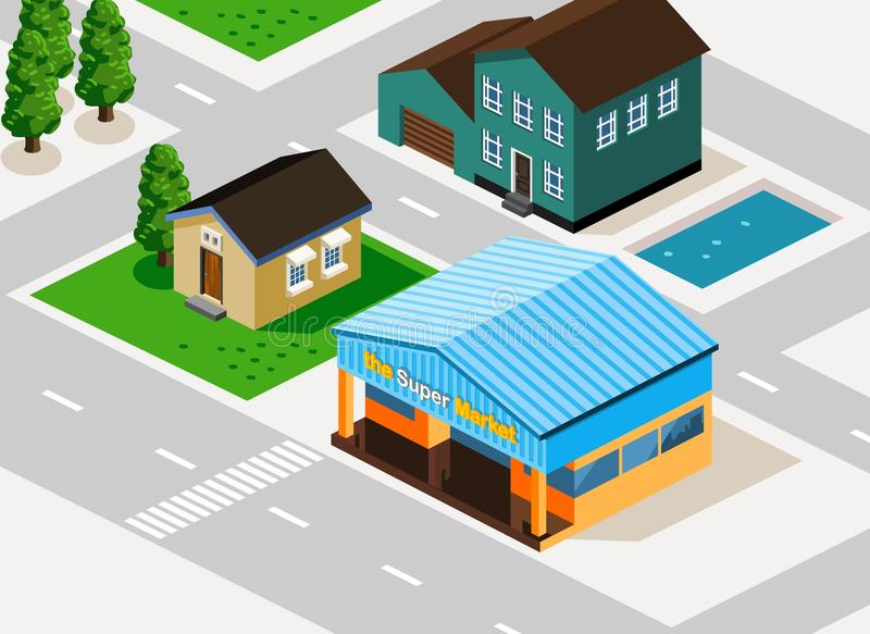 Grocery Isometric vector illustration