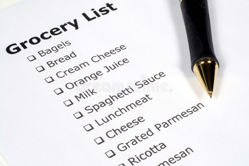 Grocery List royalty free stock photos