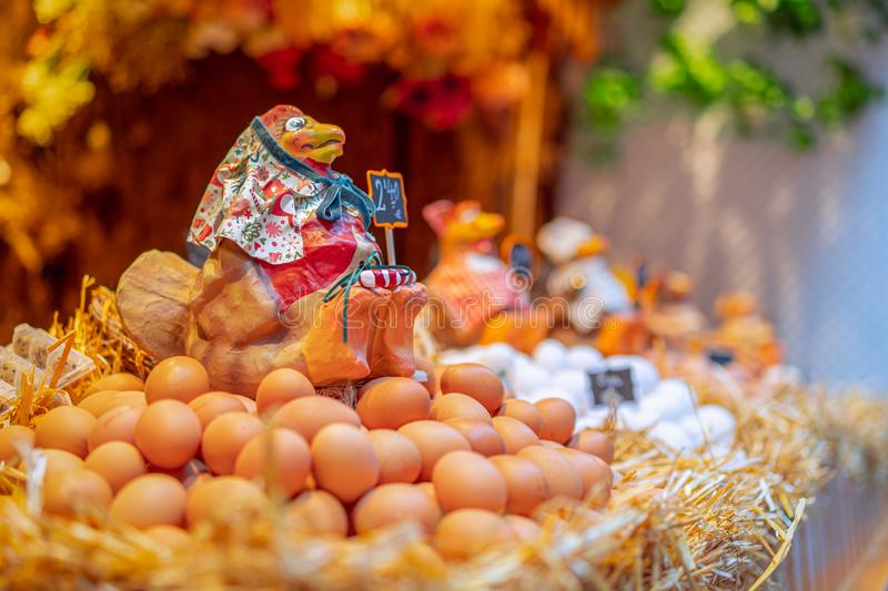 Grocery market in Barcelona. Chicken Egg Counter decorated in a rustic style. Selective focus. Bokeh royalty free stock photos