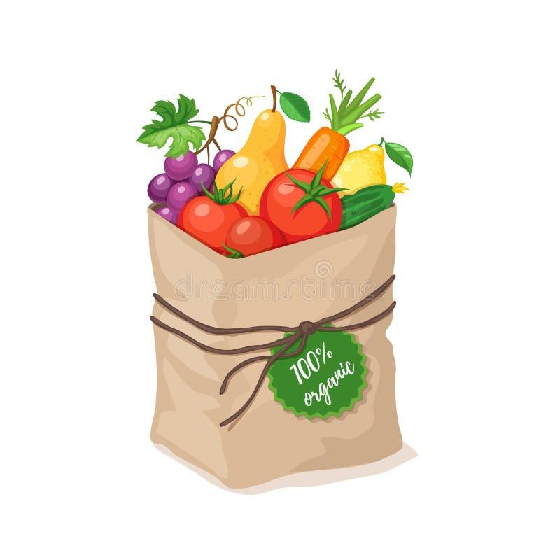 Grocery paper bag vector illustration