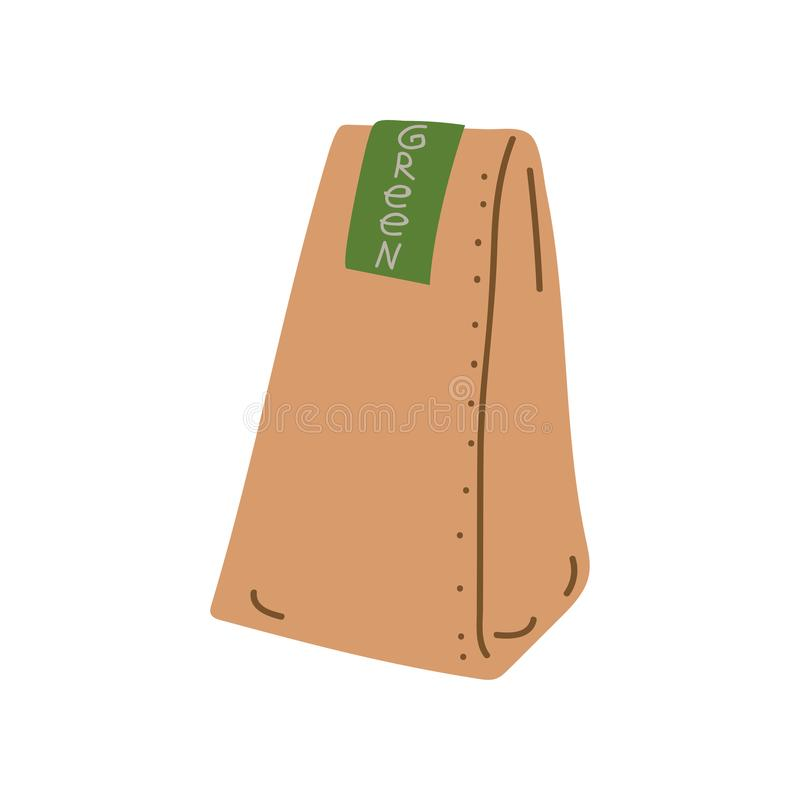 Grocery Paper Bag, Zero Waste Reusable Object, Eco lifestyle Concept Vector Illustration. On White Background royalty free illustration
