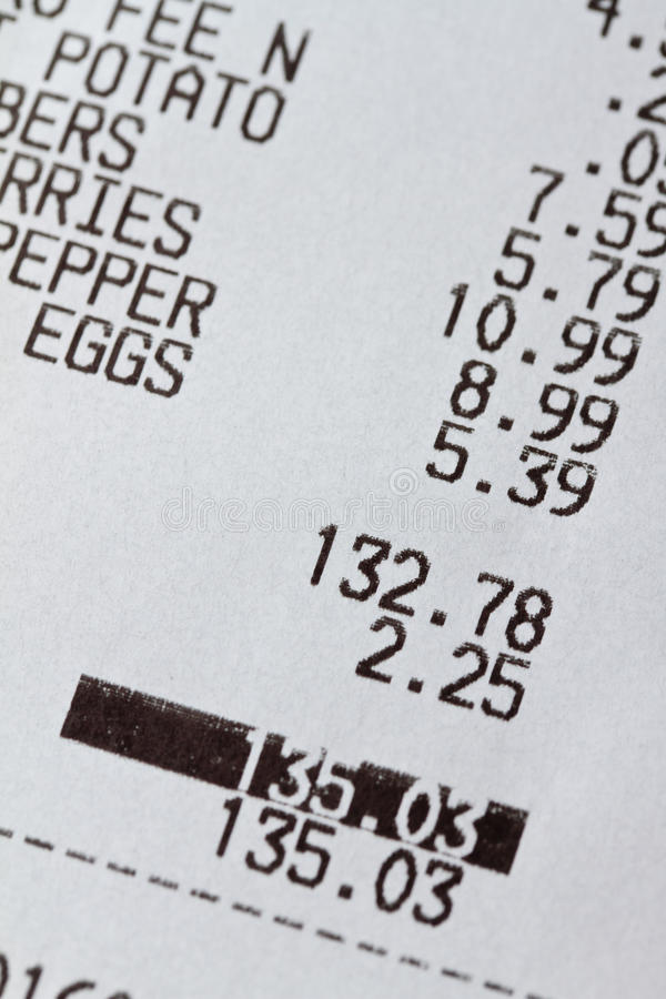Grocery Receipt Royalty Free Stock Images