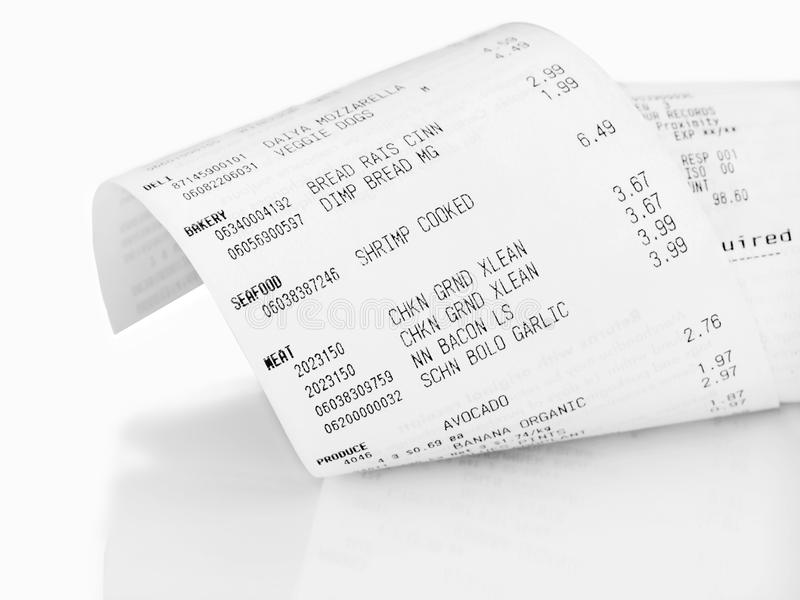 Grocery receipt royalty free stock photos