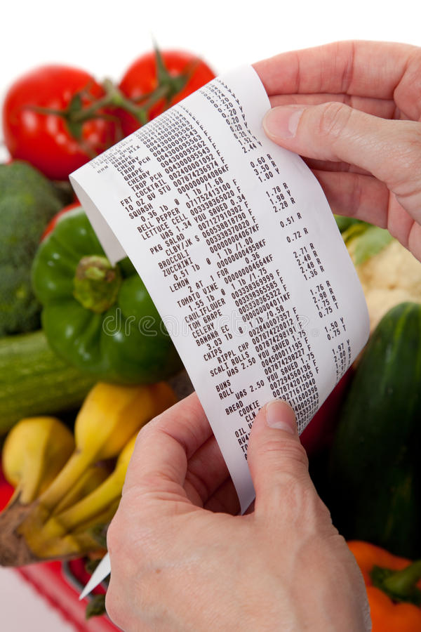 Free Grocery Receipt Over A Bag Of Vegetables Stock Photography - 11206802