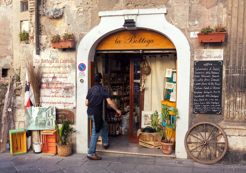Grocery shop entrance in Italy stock photos