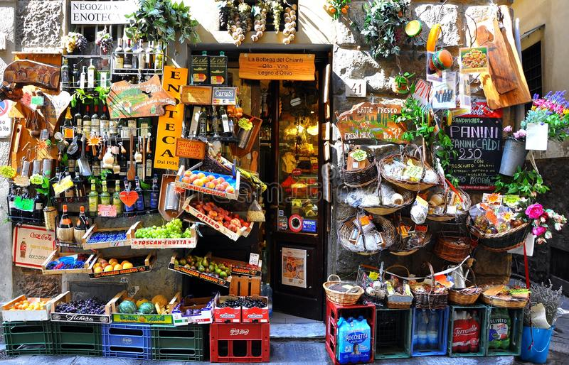 Typical grocery shop in Florence city , Italy stock photos