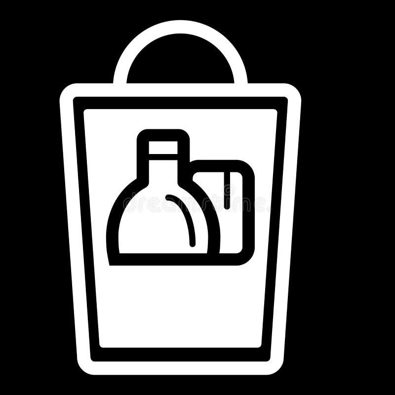 Grocery shopping bag. Vector illustration on black background. royalty free illustration
