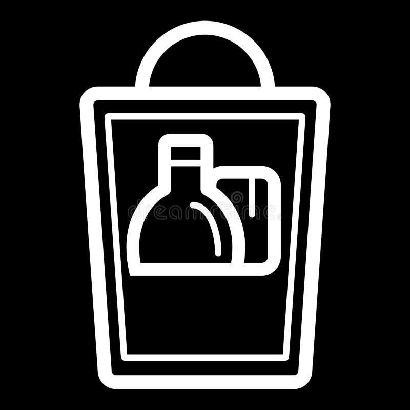 Grocery shopping bag. Vector illustration on black background. stock illustration