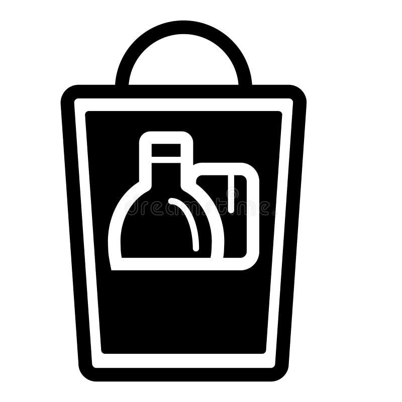 Grocery shopping bag. Vector illustration on white background. royalty free illustration