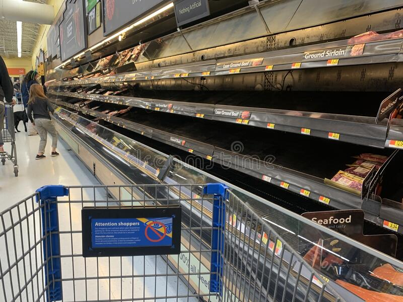 Grocery shopping during a panic stock photo