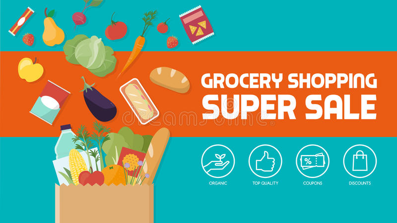 Grocery shopping royalty free illustration