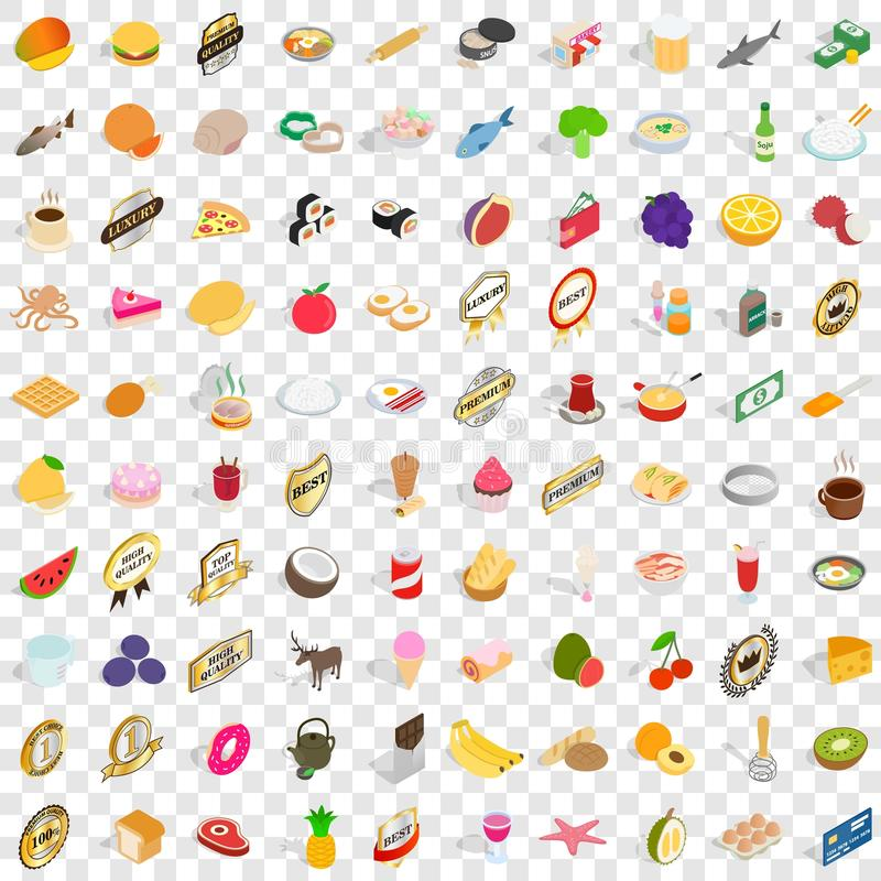 100 grocery shopping icons set, isometric 3d style stock illustration