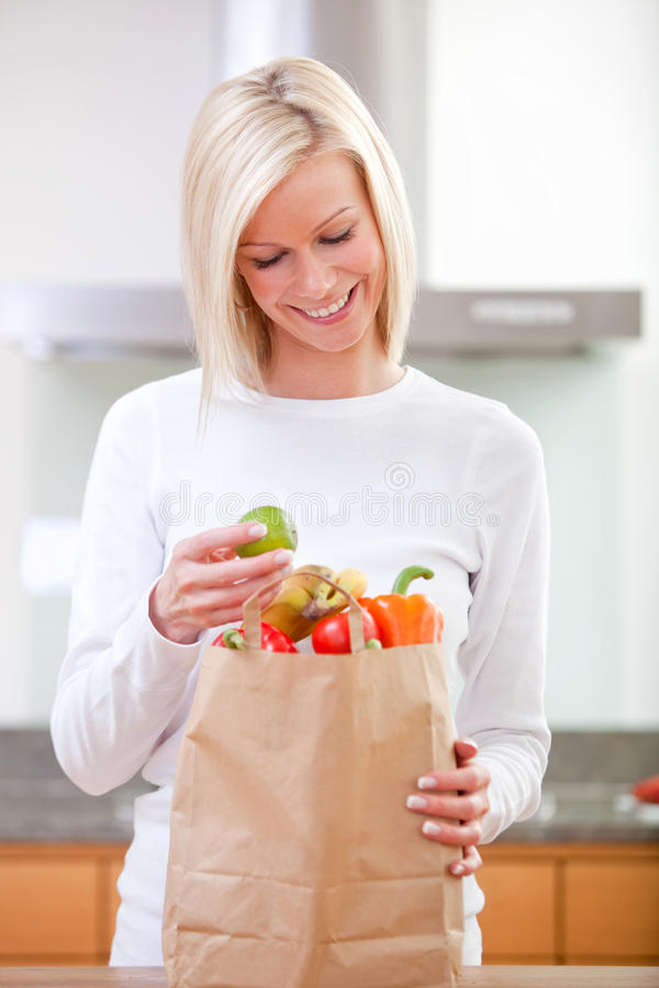 Download Grocery shopping woman stock photo. Image of purchases - 15654002
