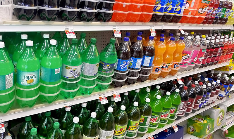 Grocery Store. Variety of Soda brands for sale in a grocery store stock photography