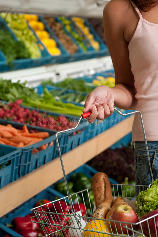 Grocery store - Basket with food stock image