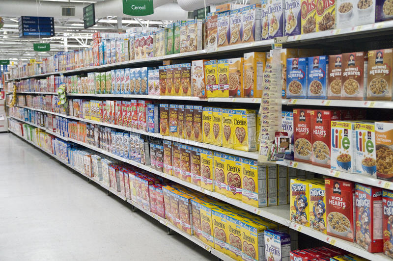 Grocery Store Cereal Shelves stock photography