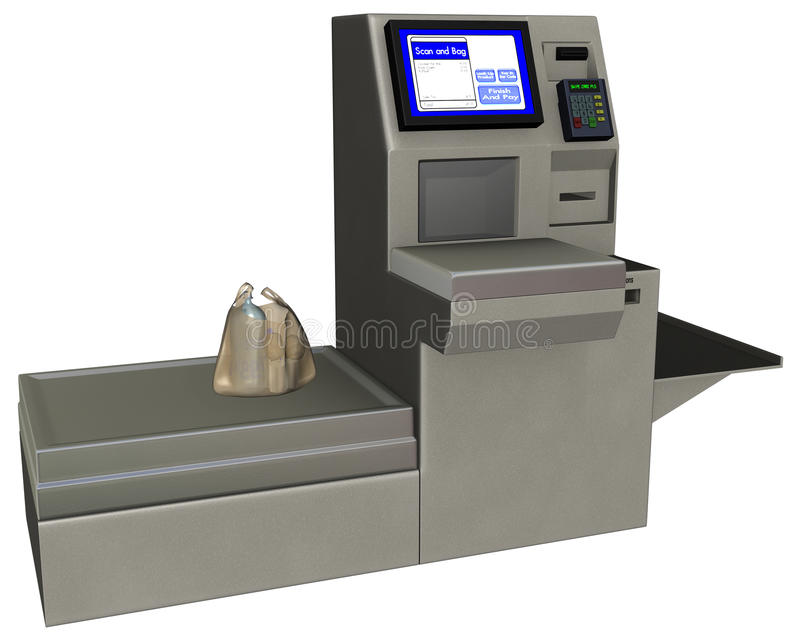 Grocery Store Checkout Register Isolated. Isolated illustration of a grocery store self checkout register counter. Time to pay for the groceries! Paper or royalty free illustration