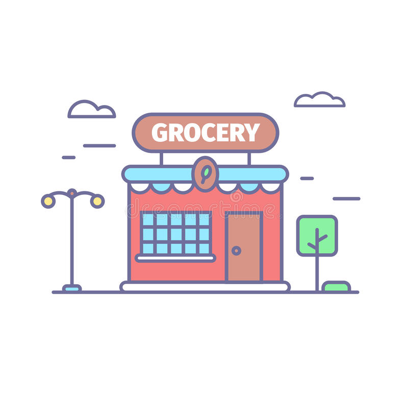 Grocery store line icon in trendy colors. Small cute shop front stock illustration