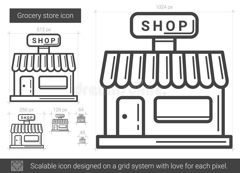Line Drawing Website : Grocery store line icon stock vector illustration of