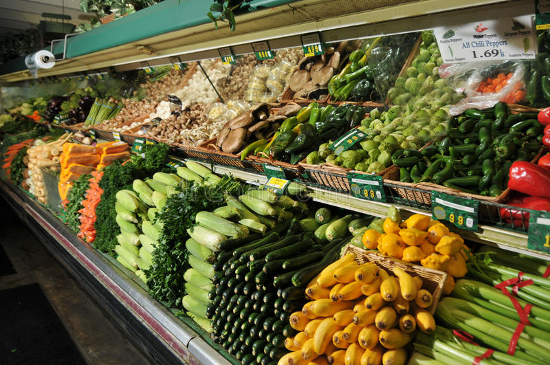 Grocery store produce section display royalty free stock photo