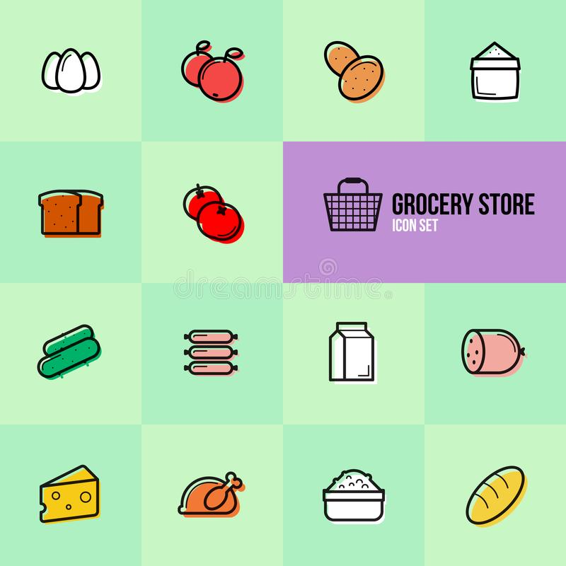 Grocery store set icons vector illustration design stock image