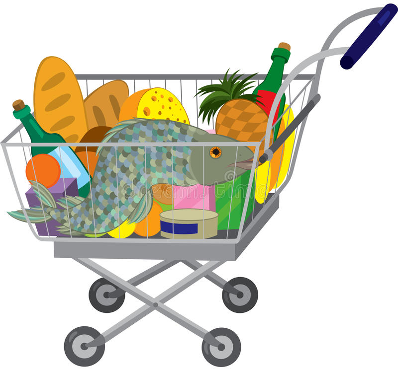 Grocery store shopping cart with food items and fish. Illustration of cartoon shopping cart full of groceries isolated on white. Grocery store shopping cart with stock illustration
