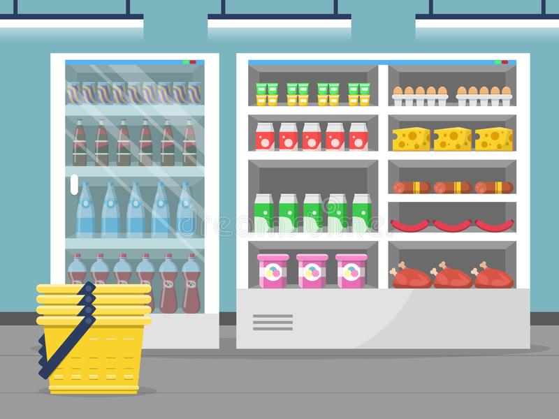 Grocery store showcase. Shop food store inside the supermarket checkout vector background. Illustration of shop and market interior with food stock illustration