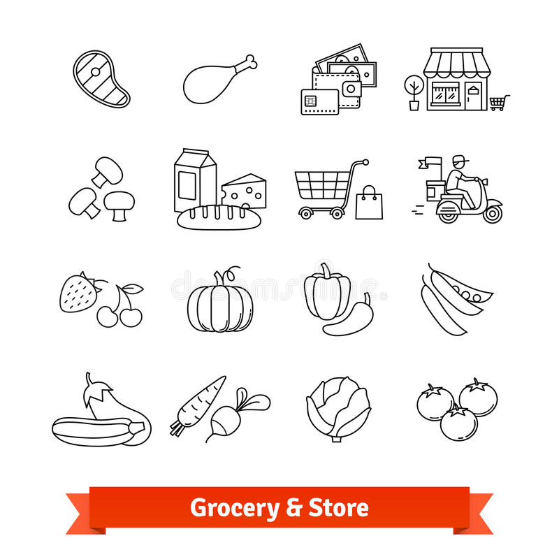 Grocery store thin line art icons set stock illustration