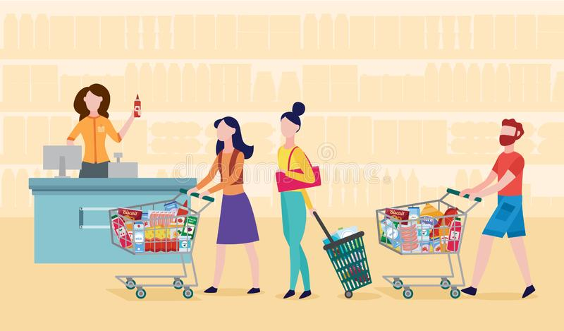 Grocery supermarket checkout line - cartoon people standing in queue vector illustration