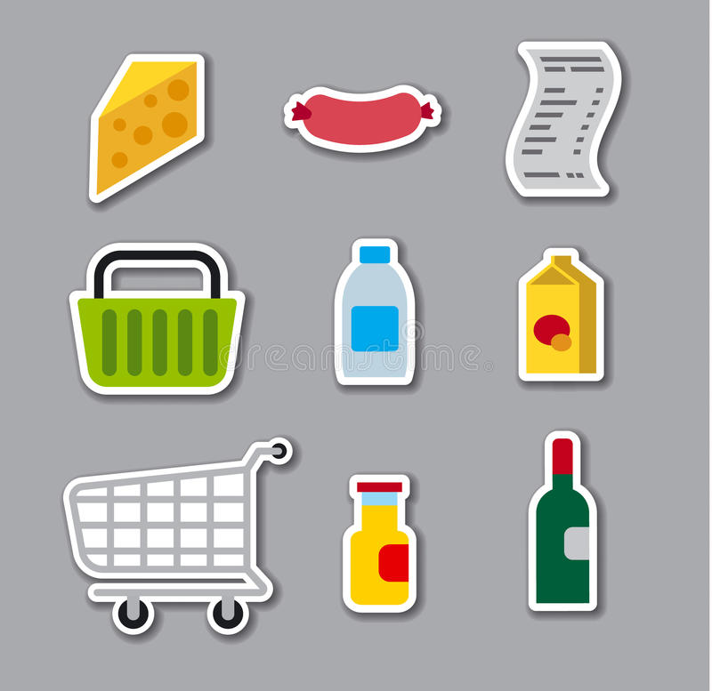 Grocery supermarket stickers vector illustration