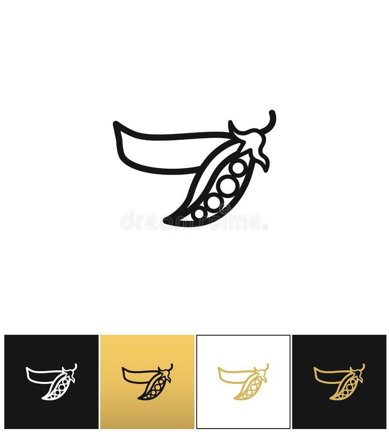 Grochu liniowy znak lub świeżych legumes grochowa wektorowa ikona ilustracja wektor