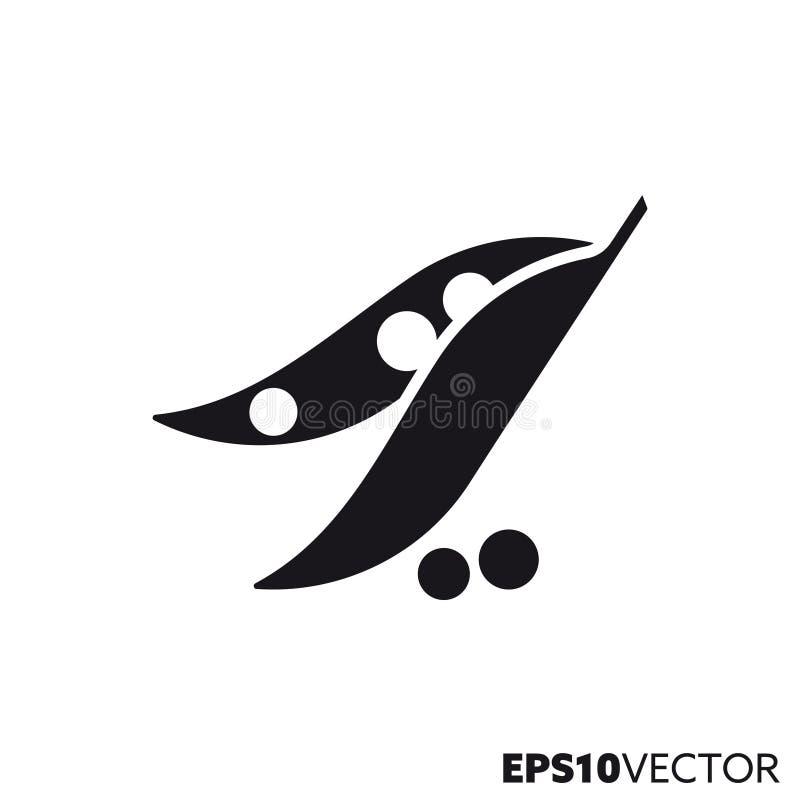Grochy i peapod glifu wektorowa ikona ilustracji