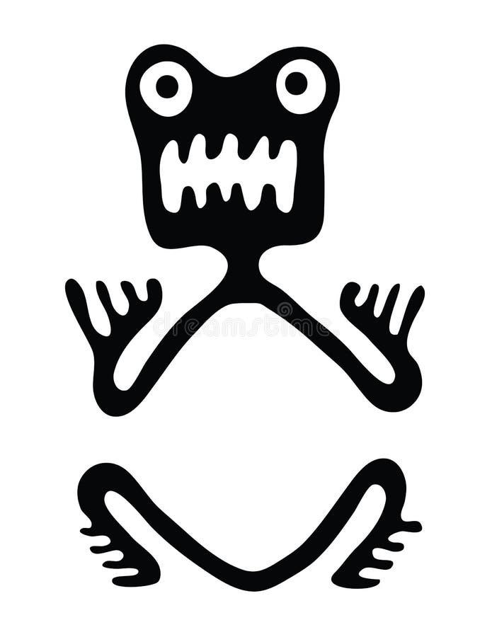 Groda i stil av Maya royaltyfri illustrationer