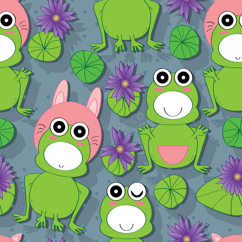 Groda Lotus Seamless Pattern vektor illustrationer