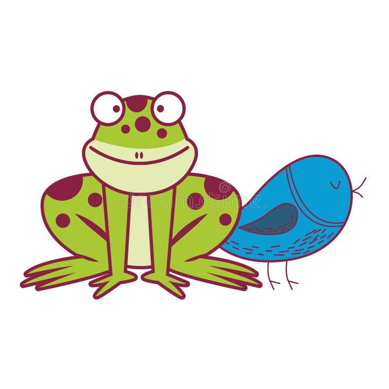 Groda och blå fågel stock illustrationer